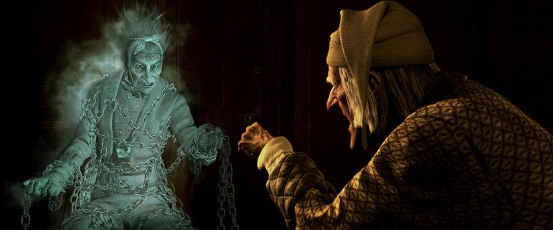 London, Ende des 19. Jahrhunderts: Der alte Ebenezer Scrooge (Jim Carrey, r.) ist ein unverbesserlicher Geizhals. Auch Weihnachten ist für ihn nichts als ein Ärgernis. Da erscheint ihm am Heiligen Abend sein verstorbener Kompagnon Marley (Gary Oldman, l.), der früher selbst ein eiskalter Geschäftsmann war und prophezeit ihm eine schreckliche Zukunft, wenn er so weiterlebt wie bisher ... – Bild: Puls 8
