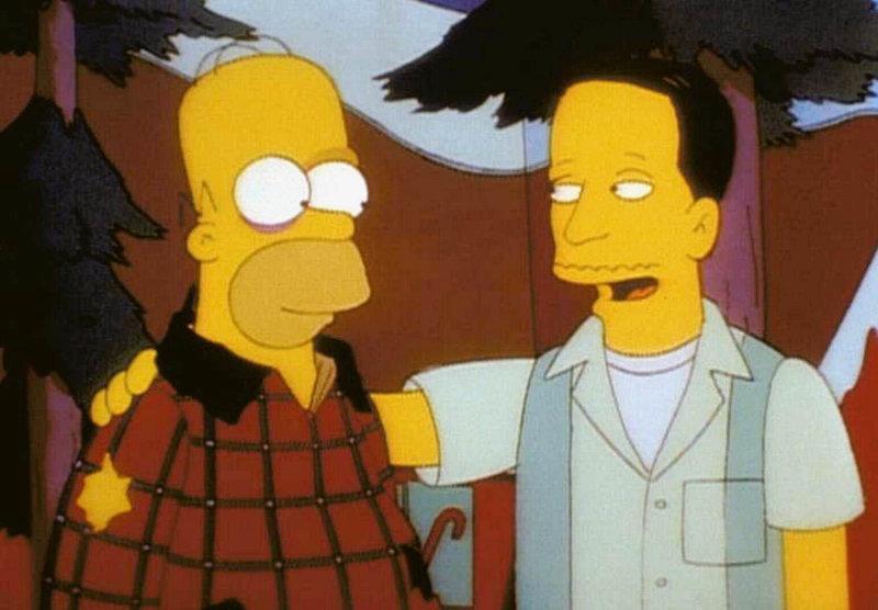Homer versöhnt sich mit dem Homosexuellen John. – Bild: ORF
