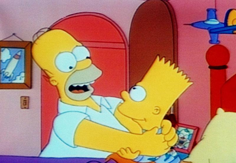 Lisa, Bart und Homer haben zu viele Halloweensüßigkeiten gegessen und werden in der Nacht von Albträumen geplagt. Lisa quält die Vision einer magischen Hand, die zuerst Wünsche erfüllt, im Anschluss aber Unglück bringt. Bart träumt davon, Springfield zu beherrschen und Homer leidet unter der Vorstellung, dass Mr. Burns sein Hirn einem Roboter implantieren will. Im Bild: Bart hat seinen Zauber rückgängig gemacht und Homer von einem Springteufel wieder in einen Menschen verwandelt. – Bild: ORF