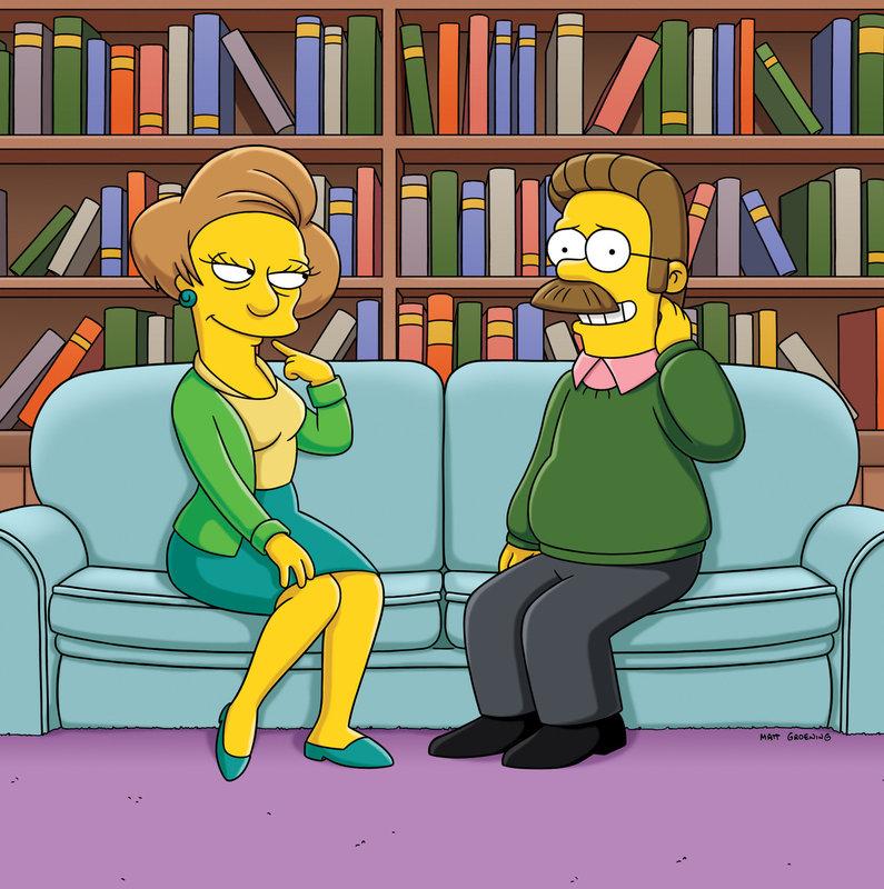 Es entwickelt sich eine leidenschaftliche Affäre zwischen den beiden, über die bald ganz Springfield spricht. Ned Flanders (r.) und Edna Krabappel (l.) ... – Bild: ProSieben