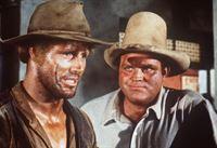 Hoss Cartwright (Dan Blocker, r.) versucht seinem Freund Arnie (Cal Bolder, l.) zu erklären, dass er von der Bardame Sherry keine echten Gefühle erwarten darf. – Bild: Paramount Pictures