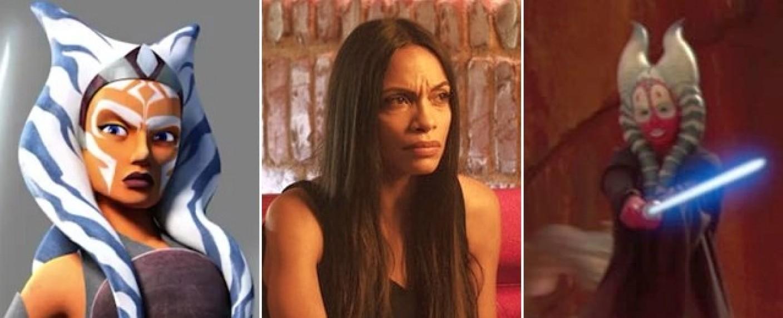 """Ahsoka Tano in """"Star Wars Rebels"""", Rosario Dawson in """"Briarpatch"""" und Shaak Ti in """"Episode II"""" – Bild: Lucasfilm, USA Network"""