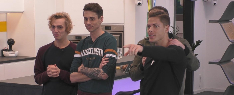 """Die """"Big Brother""""-Bewohner Tim, Pat und Cedric (v. l. n. r.) – Bild: Sat.1"""