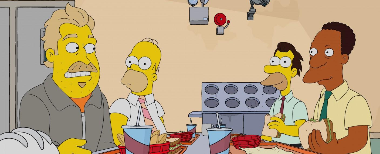 """Bild aus """"Undercover Burns"""" der Serie """"Die Simpsons"""": (v.r.): Carl, Lenny und Homer mit ihrem neuen Kollegen, """"Fred"""" – Bild: 20th Television"""