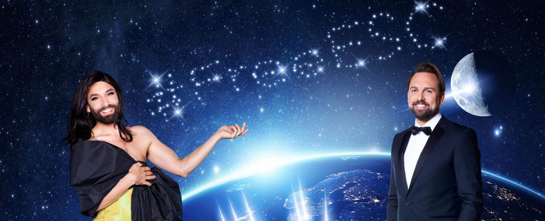 """Conchita Wurst und Steven Gätjen führen durch den """"Free European Song Contest"""" – Bild: ProSieben/Markus Morianz/Benedikt Müller"""