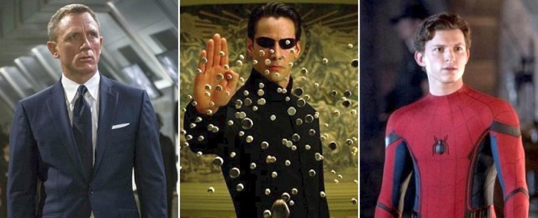 Daniel Craig als James Bond, Keanu Reeves als Neo und Tom Holland als Spider-Man – Bild: MGM, Warner Bros., Sony Pictures Entertainment