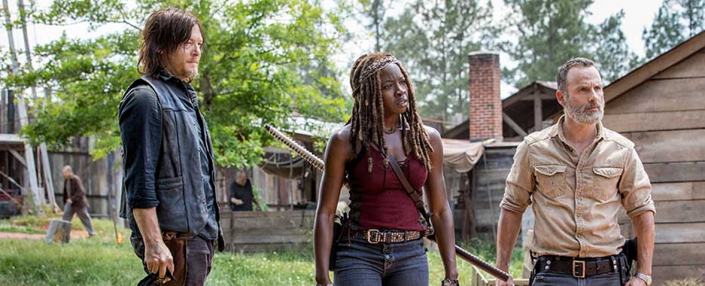 "Daryl (Norman Reedus), Michonne (Danai Gurira) und Rick (Andrew Lincoln) in Staffel 9 von ""The Walking Dead"" – Bild: AMC"