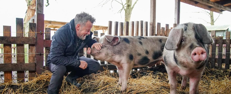 Jenke von Wilmsdorff (l.) im Schweinestall – Bild: TVNOW/Stefan Gregorowius