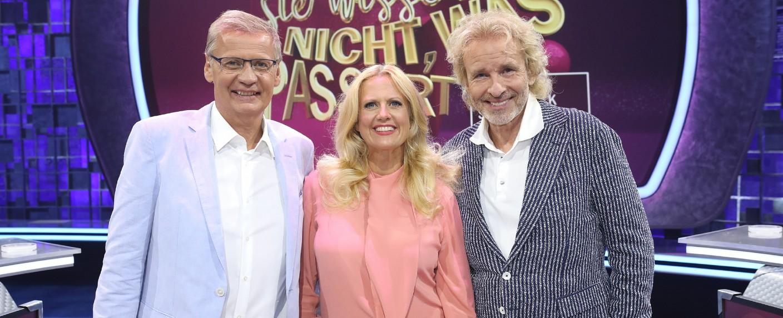 """""""Denn sie wissen nicht, was passiert"""": Günther Jauch, Barbara Schöneberger und Thomas Gottschalk – Bild: MG RTL D / Frank Hempel"""