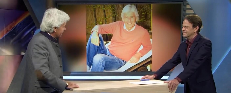 """Der frühere """"Glücksrad""""-Moderator Frederic Meisner bei Rudi Cerne im Studio – Bild: ZDF/Screenshot"""