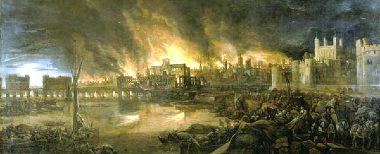 Der Große Brand von London im Bild eines unbekannten holländischen Malers – Bild: Public Domain / Thomas Willson