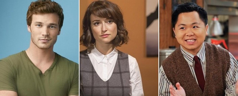 Derek Theler (l.), Milana Vayntrub (M.) und Matthew Moy (r.) – Bild: ABC Family/NBC/CBS