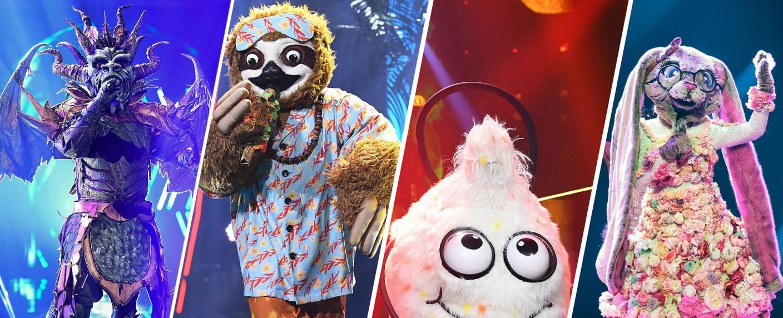 """Die Finalisten von """"The Masked Singer"""" 2020: Der Drache, das Faultier, der Wuschel und der Hase – Bild: ProSieben/Willi Weber"""