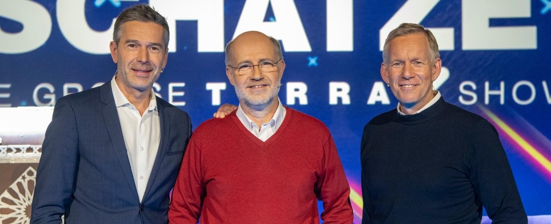 """Die große Terra X-Show"" mit Dirk Steffens, Harald Lesch, Johannes B. Kerner (v. l. n. r.) – Bild: ZDF/Sascha Baumann"