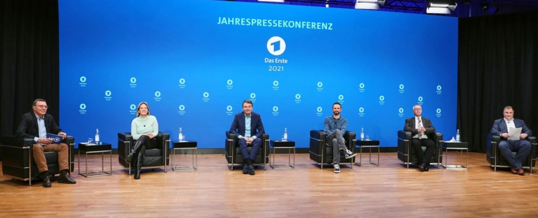 Die virtuelle Pressekonferenz der ARD über das Programm im Jahr 2021 – Bild: ARD/Petra Stadler