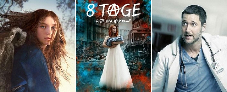 """Drei der wichtigsten Serien im März: """"Hanna"""", """"8 Tage"""" und """"New Amsterdam"""" – Bild: Prime Video, Sky Deutschland, VOX"""