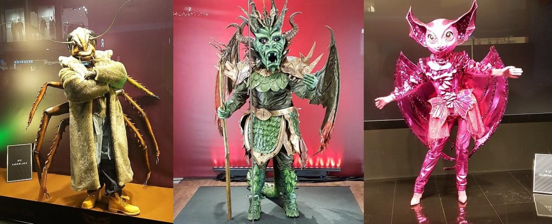 Drei der zehn neuen Kostüme: Die Kakerlake, der Drache und die Fledermaus – Bild: TV Wunschliste