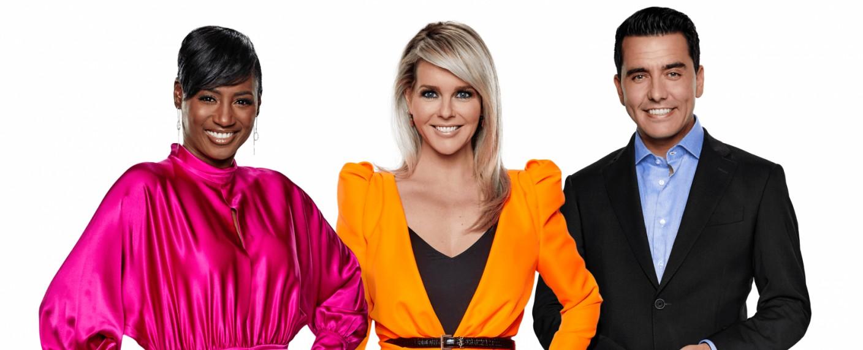 "Edsilia Rombley, Chantal Janzen und Jan Smit (v. l.) moderieren den ""Eurovision Song Contest"" 2020 – Bild: NPO/AVROTROS/NOS"
