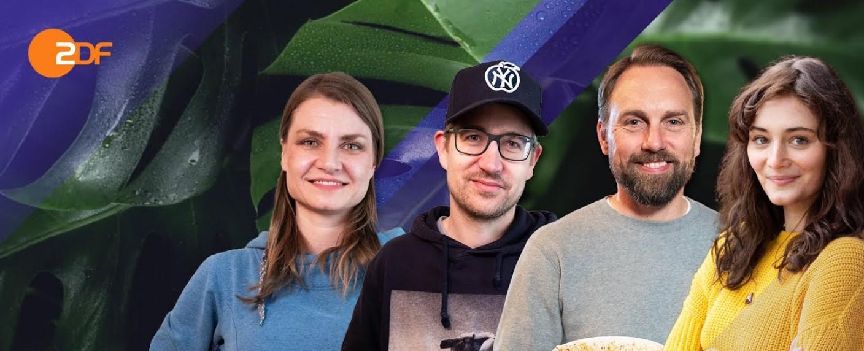 """""""Filmgorillas"""" mit dem Ehepaar Schröckert, Steven Gätjen und Maria Ehrich – Bild: ZDF"""