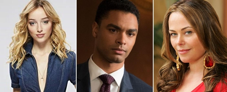 """Führen den Hauptcast von """"Bridgerton"""" an: Phoebe Dynevor, Rege-Jean Page und Polly Walker – Bild: Sony Television/ABC/CBS"""