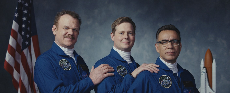 """Gehen auf erdnahe Mondmission: (v.l.) John C. Reilly, Tim Heidecker und Fred Armisen in """"Moonbase 8"""" – Bild: Showtime"""