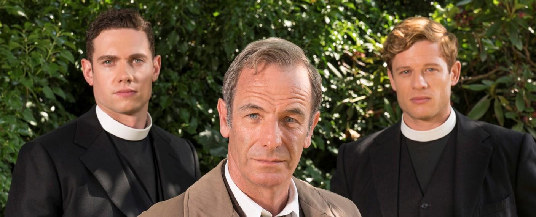 """""""Grantchester"""": Detective Inspector Geordie Keating (Robson Green) mit altem und neuem Partner – Bild: ITV"""