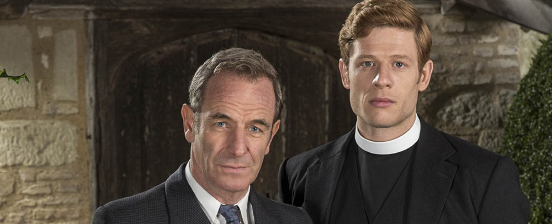 """Grantchester"": Geordie Keating (Robson Green, l.) und Vikar Sidney Chambers (James Norton) – Bild: ITV/Lovely Day Productions"