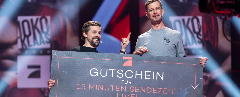 Haben sich 15 Minuten Sendezeit erspielt: Klaas Heufer-Umlauf und Joko Winterscheidt – Bild: ProSieben/Jens Hartmann