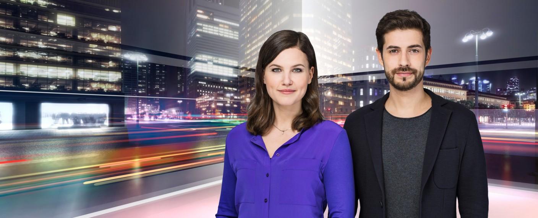 """Hanna Zimmermann und Daniel Bröckerhoff moderieren """"heute+"""" – Bild: ZDF/Jana Kay"""