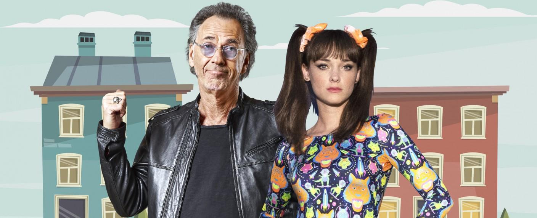 """Hugo Egon Balder und Larissa Rieß präsentieren """"Die Sat.1 Comedy Konferenz – Promis in Quarantäne"""" – Bild: Sat.1"""