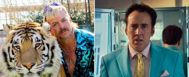"""Joe Exotic in """"Großkatzen und ihre Raubtiere""""; Nicolas Cage im Film """"Dog Eat Dog"""" – Bild: Netflix/Freeman Film"""
