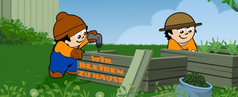 Die Mainzelmännchen bleiben in Corona-Zeiten zu Hause und arbeiten in angemessenem Abstand an Hochbeeten im Garten. – Bild: ZDF/NFP
