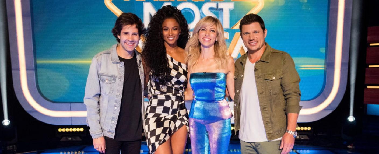 """Nick Lachey (r.) und die Juroren von """"America's Most Musical Family"""" – Bild: Nickelodeon"""