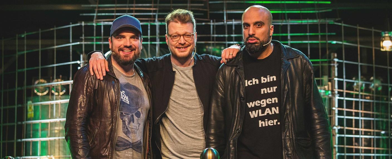 """""""Roast Battle"""" mit Ingmar Stadelmann, Maxi Gstettenbauer und Abdelkarim (v.l.n.r.) – Bild: Comedy Central/Jakob Hoff"""