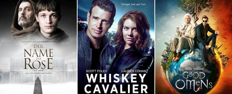 """Starten im Mai 2019: """"Der Name der Rose"""", """"Whiskey Cavalier"""" und """"Good Omens"""" – Bild: Sky, ABC, Prime Video"""