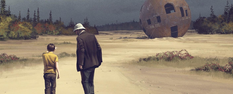 """Tales from the Loop"": Enkel Cole (Duncan Joiner, l.) mit Großvater Russ (Jonathan Pryce) und mysteriösem Schrott – Bild: Prime Video"