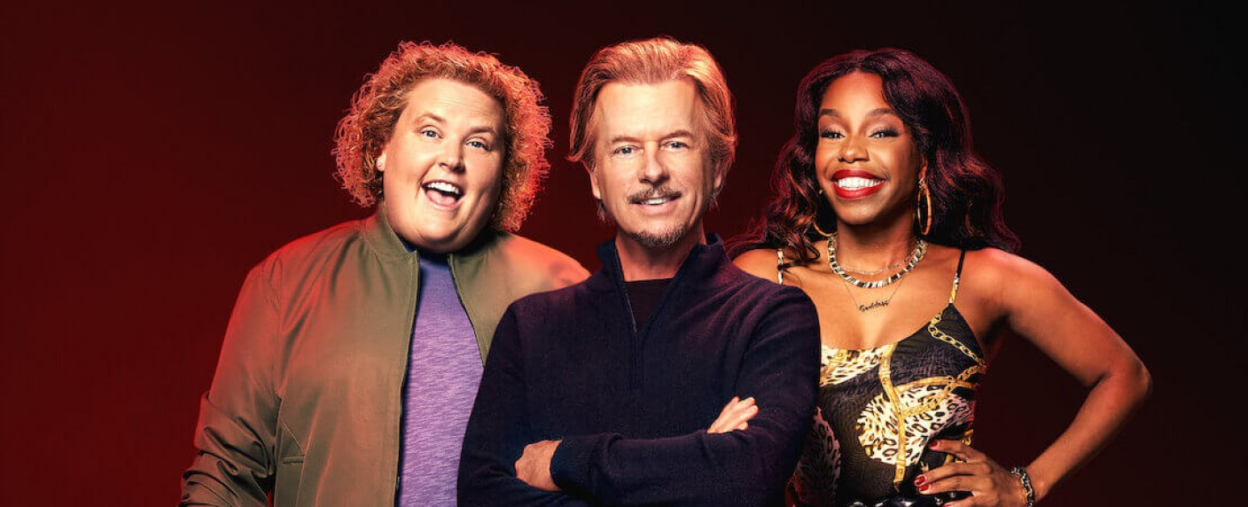 "Fortune Feimster, David Spade und London Hughes (v. l.) in ""The Netflix Afterparty"" – Bild: Netflix"