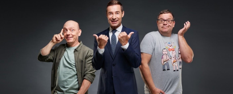 Bernhard Hoëcker, Kai Pflaume und Elton sind bald wieder auf Sendung – Bild: ARD/Thomas Leidig