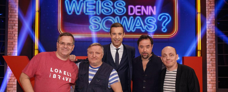 """""""Wer weiß denn sowas? XXL"""": Axel Prahl (2.v.l.) und Jan Josef Liefers (2.v.r.) traten u.a. gegeneinander an – Bild: NDR/Morris Mac Matzen"""