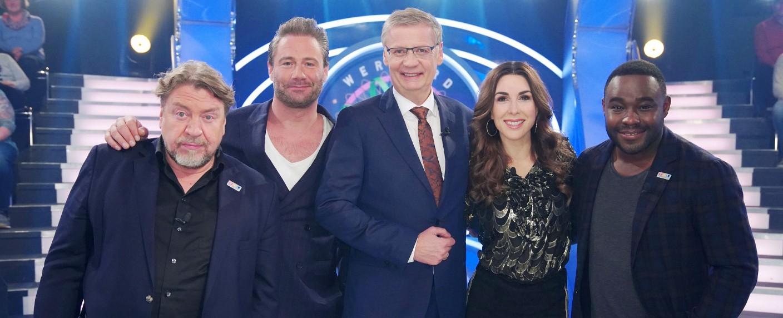 """""""Wer wird Millionär?"""": Promi-Special mit Armin Rohde, Sasha, Moderator Günther Jauch, Judith Williams und Nelson Müller – Bild: MG RTL D / Stefan Gregorowius"""