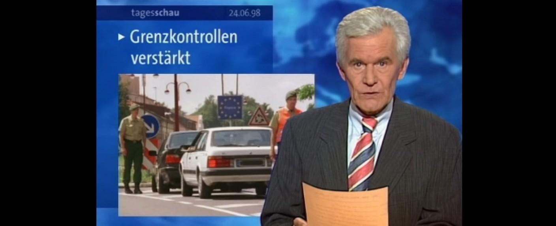 """Wilhelm Wieben bei seiner letzten """"Tagesschau"""" am 24. Juni 1998 – Bild: YouTube/Screenshot"""