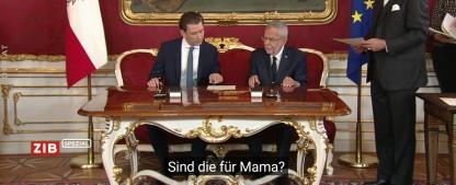 """ORF-Untertitel-Panne: Regierungsantritt wie in einer Telenovela – """"Wie würdest du dieses Küken nennen?"""" – Bild: ORF/Screenshot"""
