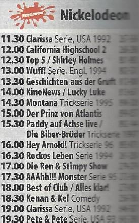 Nickelodeon-Programmschema vom Wochenende im Mai 1998 Hörzu/Mai 1998