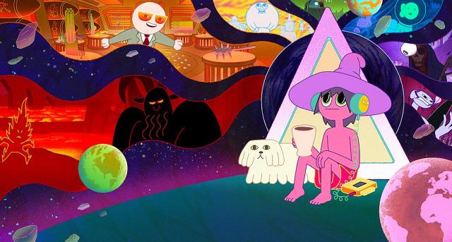 """Wer einmal das """"Land of Oo"""" von Pendleton Ward betreten hat, wird es wohl so schnell nicht mehr verlassen wollen: """"Adventure Time – Abenteuerzeit mit Finn und Jake"""" ist eine zuckersüße Wohlfühlwelt für Groß und Klein. Doch mit Wards neuem Werk, """"Enthüllungen zu Mitternacht"""", verhält es sich ungleich anders. Auch hier eröffnen sich fantastische, absurde Welten, die jedoch nichts mehr mit dem kindlichen Moment der Vorgängerserie zu tun haben. Der/ die geschlechtsneutrale Clancy ist Spacecaster und reist in ferne, sterbende Welten im Universum, um sich dort Gesprächspartner zu suchen. Die nach echten Interviews geschriebenen Dialoge, die Schauspieler und Podcaster Duncan Trussell in dieser Rolle führt, ziehen die Zuschauenden in ihren psychedelischen Bann. Lose Ereignisabfolgen einer scheidenden Welt in quietschig-bunten Farben begleiten die Unterhaltungen über Tod und Vergänglichkeit und unterstreichen das Überkommen des Körpers durch den Geist. Man fühlt sich an """"Yellow Submarine"""" und ähnliche Zeichentrickkunstwerke aus den 60ern und 70ern erinnert – und ist schon nach einer Folge regelrecht high und ein bisschen (gut) überfordert. Netflix/ Titmouse"""