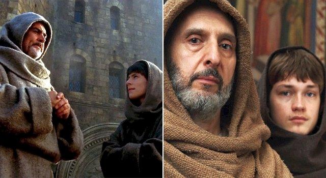 William und Adson: Im Film (Sean Connery und Christian Slater) und der Serie (John Turturro und Damian Hardung)