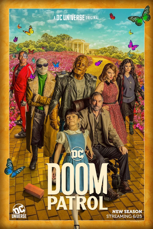 """Passend zu """"Dorothy"""" lehnt sich das Poster zur zweiten Staffel von """"Doom Patrol"""" an die Geschichte von """"Der Zauberer von Oz"""" an, zu sehen ist die 'Yellow Brick Road' HBO Max"""