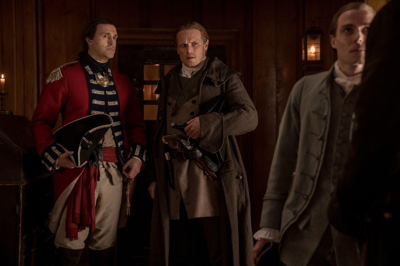 Jamie (Sam Heughan) ist vom Vorgehen der Regulatoren schockiert. Starz