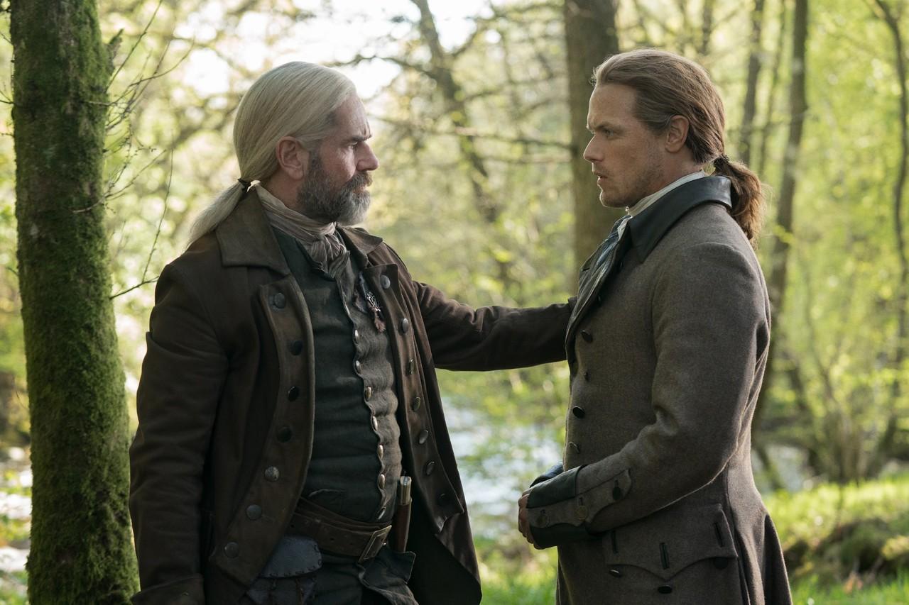Murtagh (Duncan Lacroix) und Jamie (Sam Heughan) nehmen Abschied – das Ende einer Ära? Starz