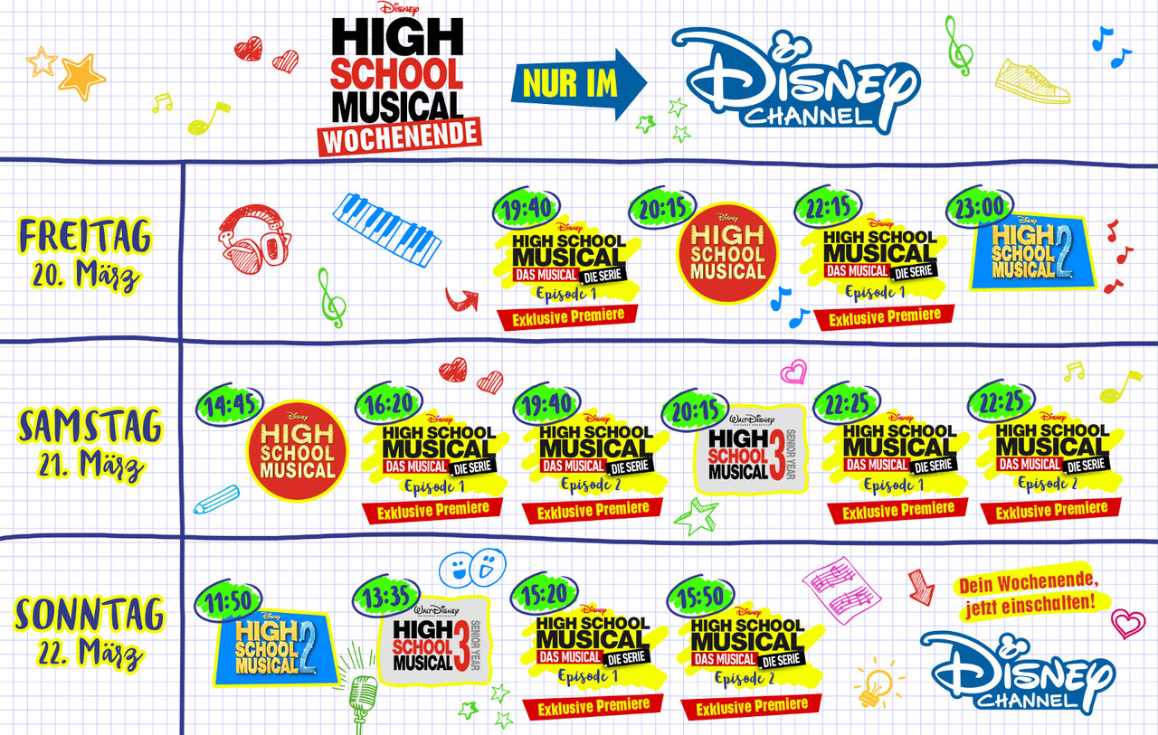 """Übersicht des """"High School Musical""""-Wochenendes im Disney Channel Disney Channel"""