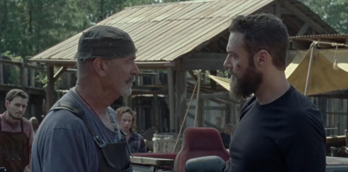 Aaron (Ross Marquand) kann Earl (John Finn) nicht von Marys (Thora Birch) ehrlichen Absichten überzeugen. AMC